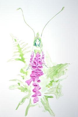 Die erste Hexenblume; Martin Welzel 2018; Aquarell/Farbstifte auf Aquarellpapier; 45 x 30 cm