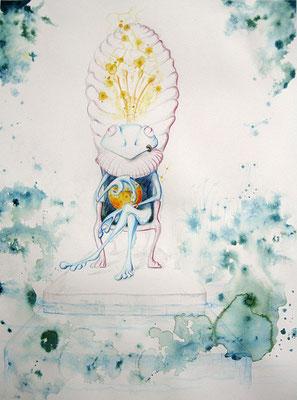 """Froschkönig der Zweite – aus: """"Froschkönig""""; Martin Welzel 2016; Aquarell/Farbstifte auf Aquarellpapier; 61 x 46 cm"""
