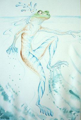 "Froschkönig der Dritte – aus: ""Froschkönig""; Martin Welzel 2016; Aquarell/Farbstifte auf Aquarellpapier; 45 x 30 cm"