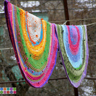 Crochet Rug from repurposed t-shirts.