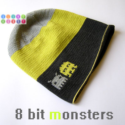 Knitted hat with pattern monsters
