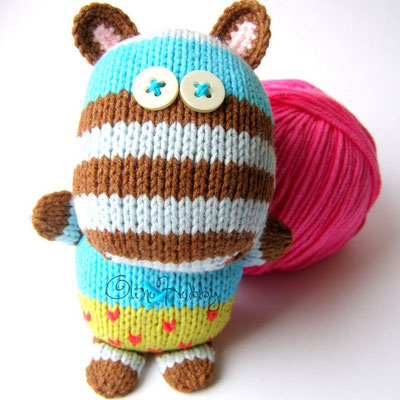 knitted striped hippo toy