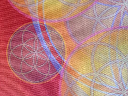 Lebendiges Mandala - Ausstattungsmuster: Kunstdruck auf Canvasleinen, Detailansicht © Susanne Barth