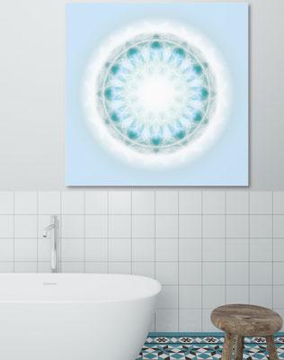 Lebendiger Kristall © Susanne Barth  - im Bad auf Alu-Dibond kein Problem. Hier eine Montage mit Foto von Moose https://photos.icons8.com/