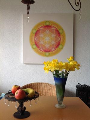 Lebendiges Mandala aus der WHITE LINE, in Privaträumen © Susanne Barth