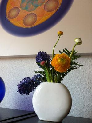 Lebendiges Mandala aus der WHITE LINE, Kunstdruck auf Canvasleinen und Keilrahmen © Susanne Barth