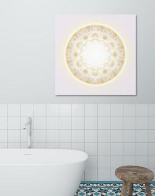 Lebendiger Kristall als universelles Klangbild © Susanne Barth - in einem Bad. Hier eine Montage mit Foto: Moose by Icons8