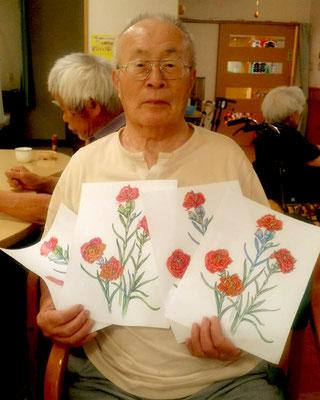 野村哲夫さま。現在目が不自由な中、とてもキレイなカーネーションを描いて頂きました!