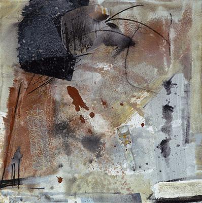 """""""Arbeitspause"""", 2016, 100 x 100 cm, Acryl/Material auf Leinwand"""