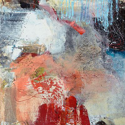 """Angerissen"", 2015, 100 x 100 cm, Acryl/Material auf Leinwand"