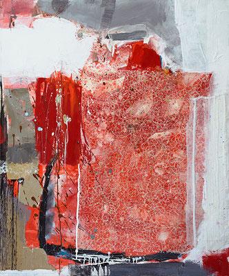 """""""Fragil"""", 2015, 120 x 100 cm, Acry/Material auf Leinwand"""