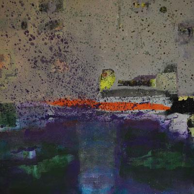 """Diptychon: """"Regentag an der Ostsee II"""", 2013, 80 x 80 cm, Acryl/Sand auf Leinwand"""