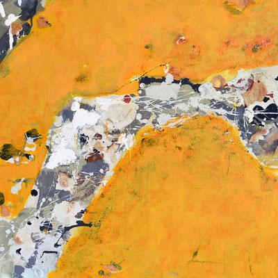 """""""Flechten und Schwämme"""", 2012, 80 x 80 cm, Acryl/Material auf Leinwand"""