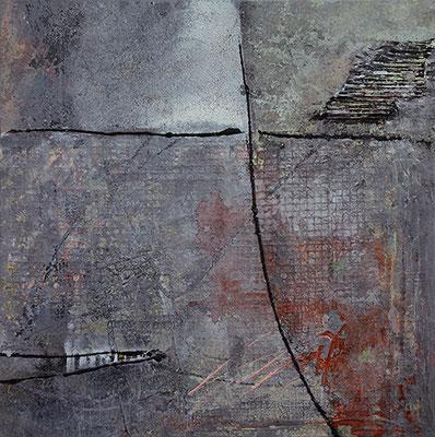"""ZEN"", 2016, 80 x 80 cm, Acryl/Material auf Leinwand"