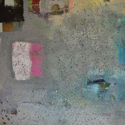 """Diptychon: """"Regentag an der Ostsee I"""", 2013, 80 x 80 cm, Acryl/Sand auf Leinwand"""