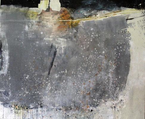 """""""Schlafendes Grau"""", 2018, 100 x 120 cm, Acryl/Material auf Leinwand"""