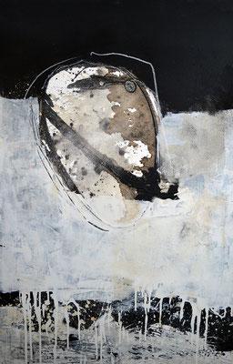 """Meteorit"", 2018, 120 x 80 cm, Acryl/Kaffee auf Leinwand, Ölkreide"
