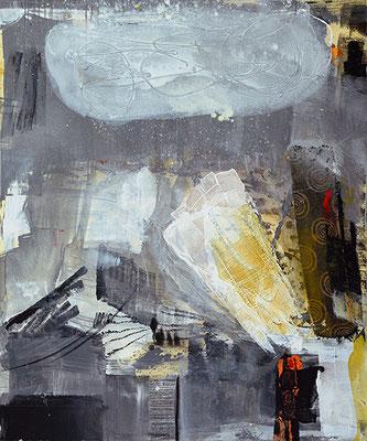 """Hydraulik"", 2016, 120 x 100 cm, Acryl/Material auf Leinwand"