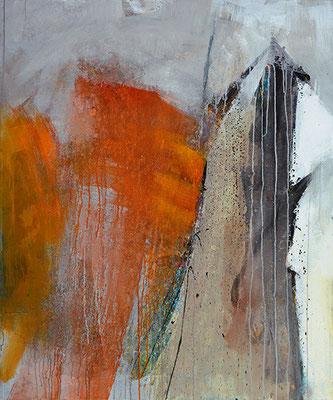 """Zinnoberduft"", 2017, 120 x 100 cm, Acryl/Sand auf Leinwand"