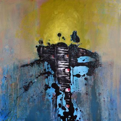 """Schwarzer Hummer"", 2013, 100 x 100 cm, Acryl auf Leinwand"