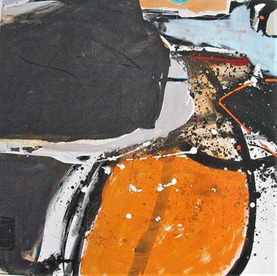 """Schwarzbunt I"", 2015, 80 x 80 cm, Acryl auf Leinwand"