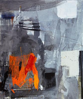 """Dyptichon: """"Sturmtief - rechte Seite"""" 2016, 120 x 100 cm, Acryl/Material auf Leinwand"""
