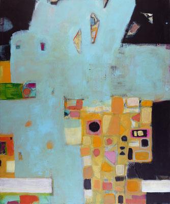"""Mosaik"", 2018, 120 x 100 cm, Acryl mit Material auf Leinwand"