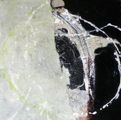 """Formstudie"", 2018, 30 x 30 cm, Acryl/Material auf Pappe/Casani"