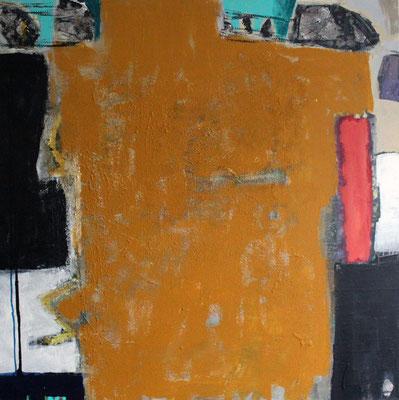 """Ocker"", 2018, 100 x 100 cm, Acryl/Sand auf Leinwand"