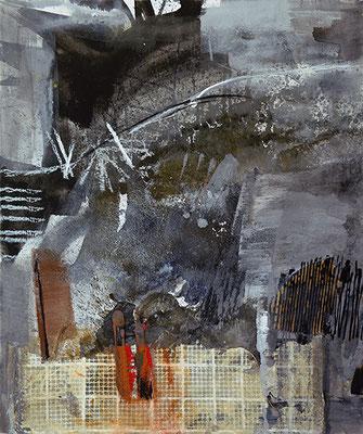 "Dyptichon: ""Sturmtief - linke Seite"", 2016, 120 x 100 cm, Acryl/Material auf Leinwand"