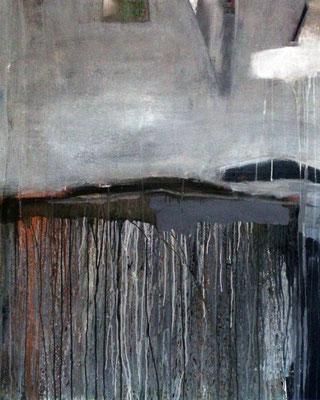 """Windstille"", 2017, 120 x 100 cm, Acryl/Material auf Leinwand"