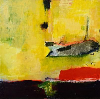 """Tümpelfisch"", 2012, 80 x 80 cm, Acryl/Material auf Leinwand"