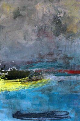 """Wolkenland"", 2015, 120 x 80 cm, Acryl/Material auf Leinwand"