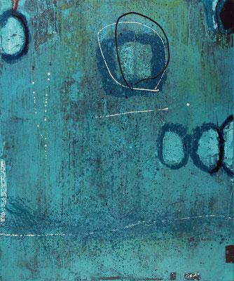 """Bubbles Blue"", 2019, 120 x 100 cm, Acryl mit Sand auf Leinwand"