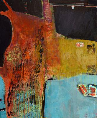 """""""Stier bei Jeanmaire"""", 2017, 120 x 100 cm, Acryl auf Leinwand"""