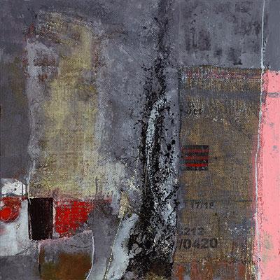 """Wartezeit"", 2016/2017, 100 x 100 cm, Acryl/Material auf Leinwand"