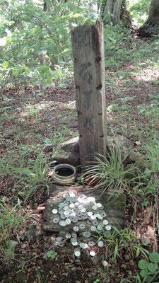 寺屋敷広場そばの謎の木柱碑 参考文献:『「山頂近くには、かつて寺が建っていたとされる「寺屋敷跡」という鞍部があり、この一角に古い塚があります。 「竹内文書」によると、仏教の開祖・釈迦牟尼は来日しており、一部の竹内文書研究家はこの塚こそ釈迦の墓であるとしています。一方、「正統竹内文書」では、釈迦は確かに来日にしているがインドに帰っており、梵珠山の墓は釈迦の十大弟子の一人で、実子でもあったラーフラの墓であると言います。いずれにしても、仏教との深い縁がある山であることは間違いなさそうです。』