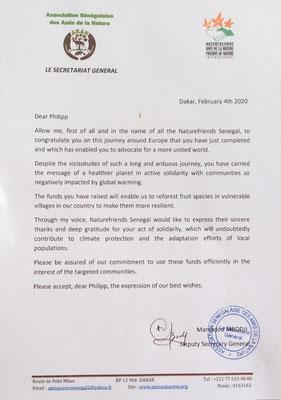 Brief von den Naturfreunden in Dakar/Senegal