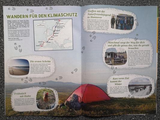 Dankeschön-Doppelseite in der Zeitschrift der NaturfreundeJUGEND