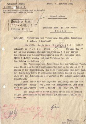 Schreiben des Finanzamtes Fulda an die Dresdner Bank Filiale in Fulda