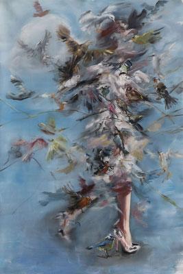 Oisellement - huile sur toile - 150 x 100 cm - 2017