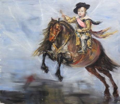Avion et cheval - huile sur toile - 130 x 15o cm - 2014