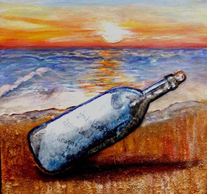 Mensaje en una botella, Esmalte sobre madera pintada,mix media