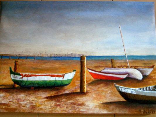 Barcas en la playa, Esmalte al fuego sobre pintura acrylica