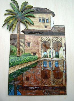 La Alhambra, esmalte al fuego sobre cobre