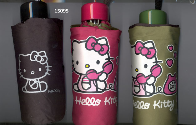 15095 Opvouwbare Paraplu Hello Kitty effen set van 3