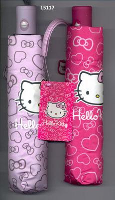 15117 Paraplu Hello Kitty met hartjes automatisch opening en sluiting  set van 2