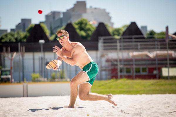 Frescobol Beachball Schläger Holz Profi