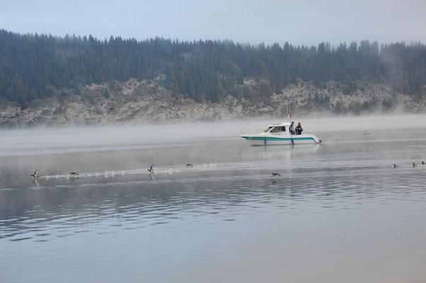 Pêcheurs sur le lac de Joux