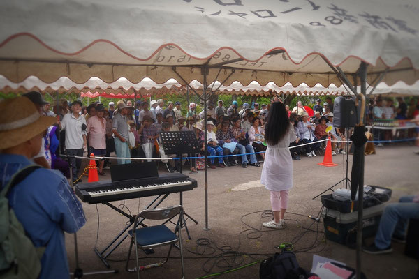 """At """"Yogi park"""" in Naha. Performance in front of many homeless people."""